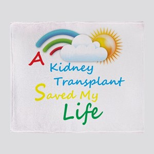 Kidney Transplant Rainbow Cloud Throw Blanket