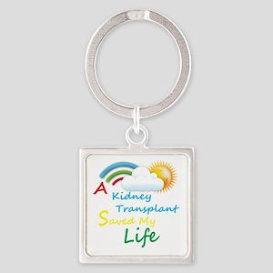 Kidney Transplant Rainbow Cloud Square Keychain