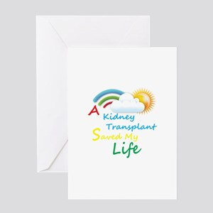 Kidney Transplant Rainbow Cloud Greeting Card