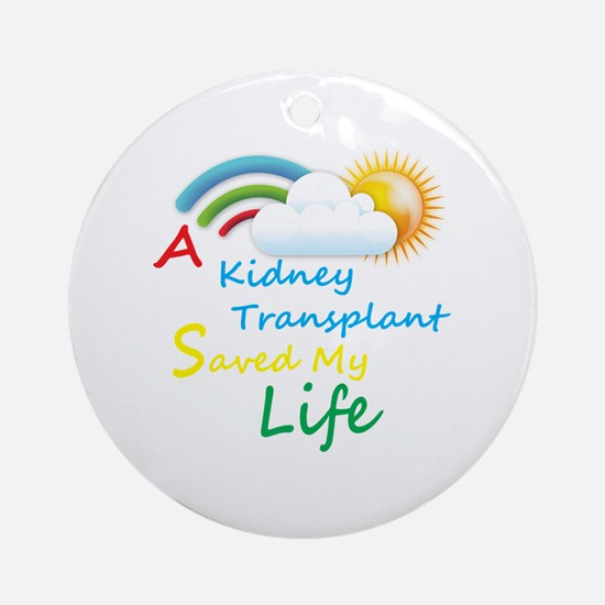 Kidney Transplant Rainbow Cloud Ornament (Round)