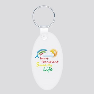 Heart Transplant Rainbow Cloud Aluminum Oval Keych