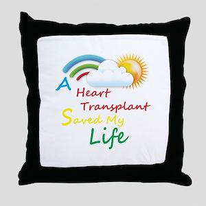 Heart Transplant Rainbow Cloud Throw Pillow