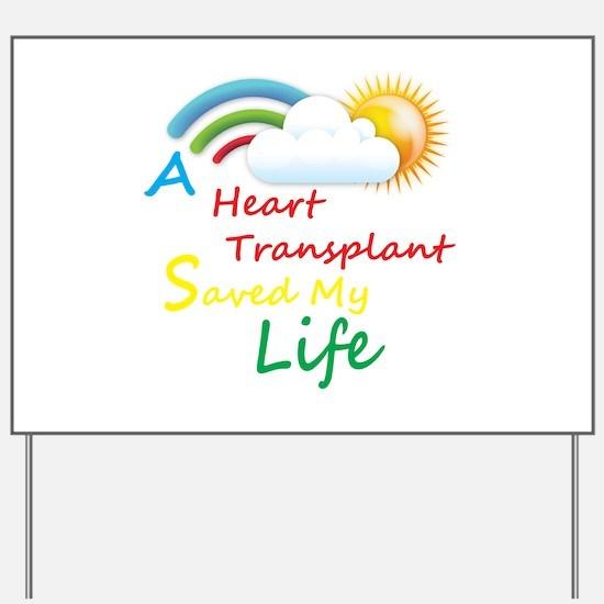 Heart Transplant Rainbow Cloud Yard Sign