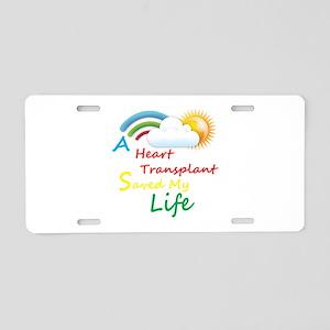 Heart Transplant Rainbow Cloud Aluminum License Pl