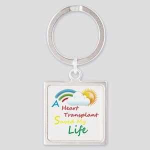 Heart Transplant Rainbow Cloud Square Keychain