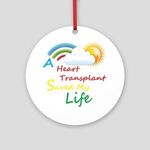Heart Transplant Rainbow Cloud Ornament (Round)