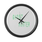 Ghost Hunter (Label Text) Large Wall Clock