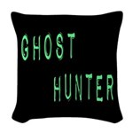 Ghost Hunter (Label Text) Woven Throw Pillow