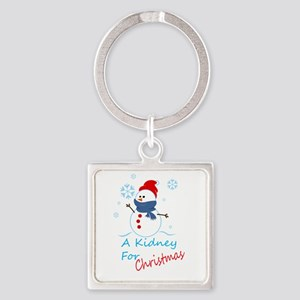 A Kidney For Christmas Snow Man Square Keychain