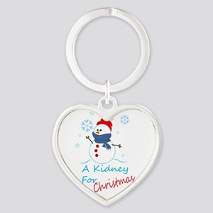 A Kidney For Christmas Snow Man Heart Keychain