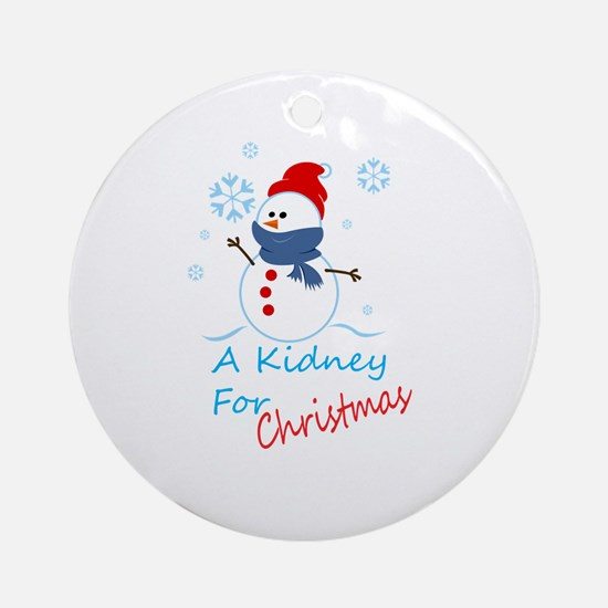 A Kidney For Christmas Snow Man Ornament (Round)