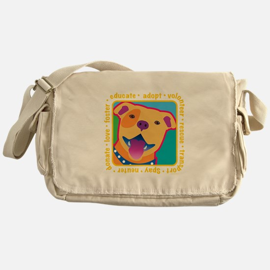 Bright Pittie Messenger Bag
