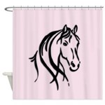 Black Horse Head Shower Curtain