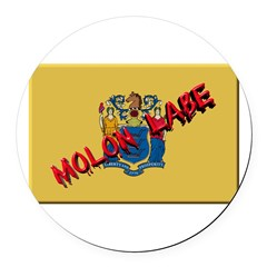 New Jersey Molon Labe Round Car Magnet
