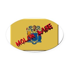 New Jersey Molon Labe Oval Car Magnet