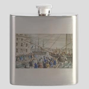 Destruction of tea at Boston Harbor - 1846 Flask