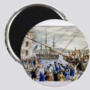 Destruction of tea at Boston Harbor - 1846 Magnet
