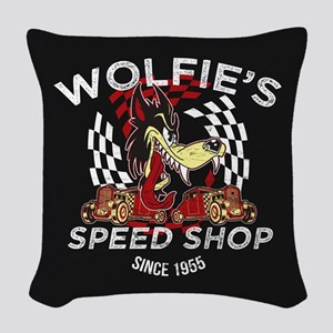 Wolfies Speed Shop Black Woven Throw Pillow