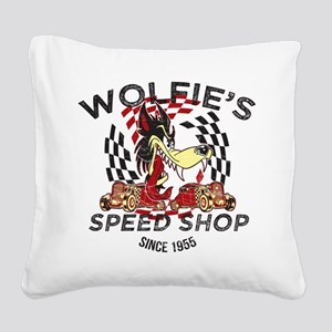 Wolfies Speed Shop Black Square Canvas Pillow