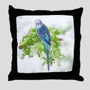 Blue Budgie on Green Throw Pillow