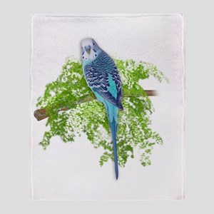 Blue Budgie on Green Throw Blanket
