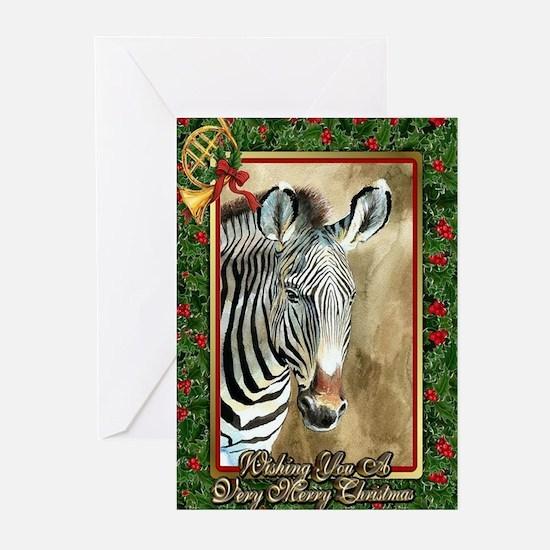 Zebra Christmas Card Greeting Cards (Pk of 10)