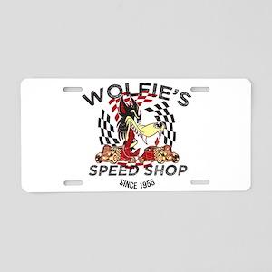 Wolfies Speed Shop Black Aluminum License Plate