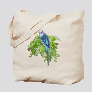 Blue Budgie on Green Tote Bag