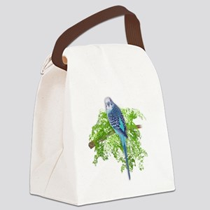 Blue Budgie on Green Canvas Lunch Bag