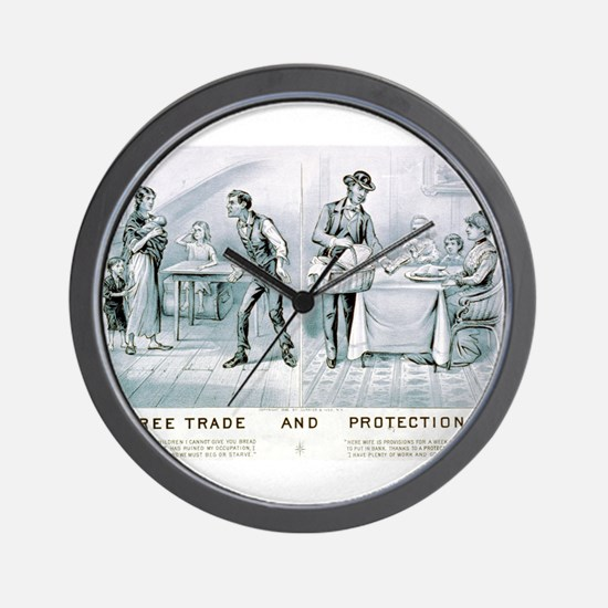 Free trade and protection - 1888 Wall Clock