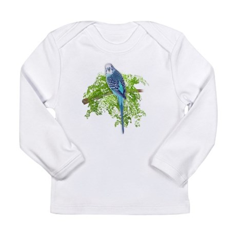 Blue Budgie on Green Long Sleeve Infant T-Shirt