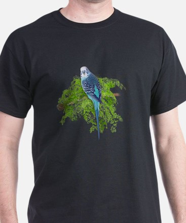 Blue Budgie on Green T-Shirt