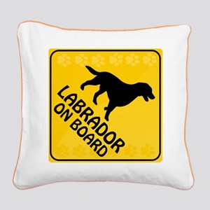 Labrador On Board Square Canvas Pillow