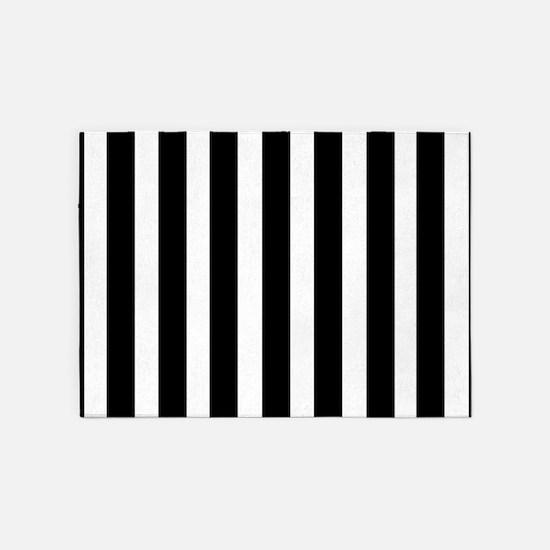 Sleek black and white stripes 5'x7'Area Rug