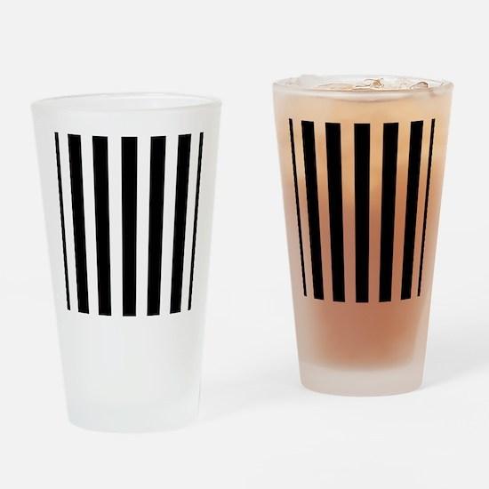 Sleek black and white stripes Drinking Glass