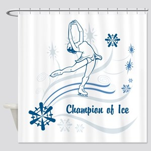 Personalized Ice Skater Shower Curtain