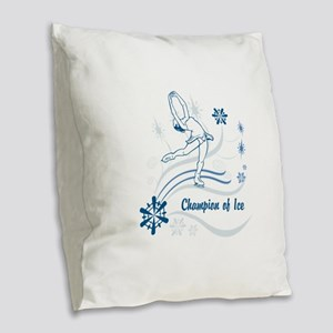 Personalized Ice Skater Burlap Throw Pillow