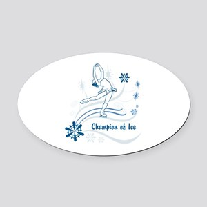 Personalized Ice Skater Oval Car Magnet