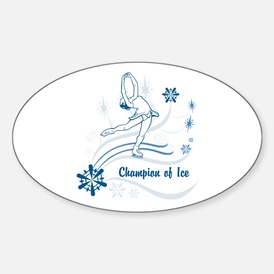 Personalized Ice Skater Sticker (Oval)