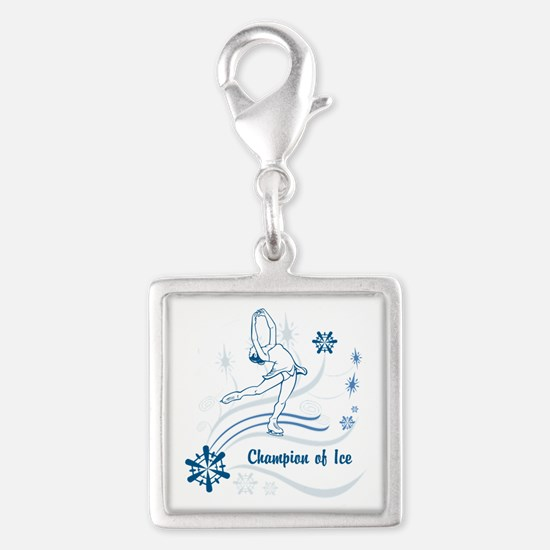 Personalized Ice Skater Silver Square Charm