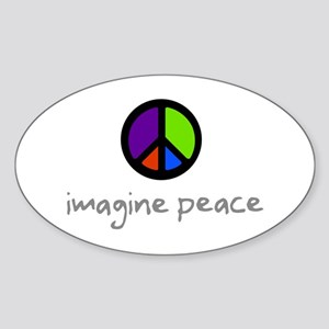 Imagine Peace Blue Glasses Oval Sticker