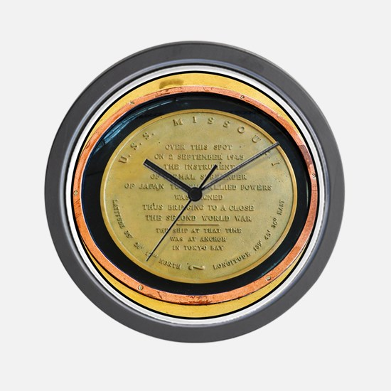 WWII Surrender Marker - USS Missouri, P Wall Clock