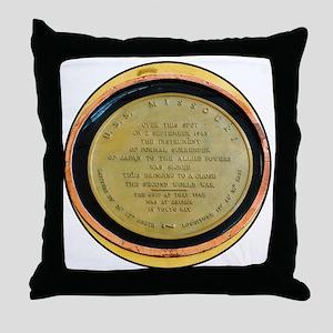 WWII Surrender Marker - USS Missouri, Throw Pillow
