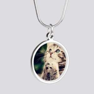 Cat Praying Silver Round Necklace