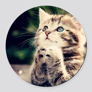Cat Praying Round Car Magnet
