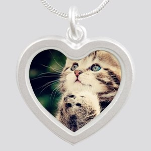 Cat Praying Silver Heart Necklace