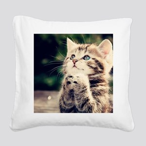 Cat Praying Square Canvas Pillow