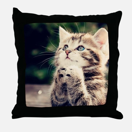 Cat Praying Throw Pillow