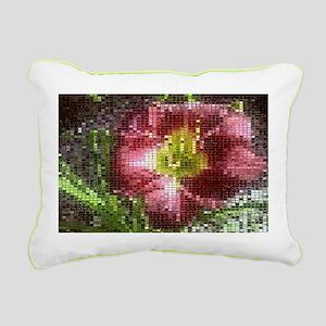 Mosaic Day Lily Rectangular Canvas Pillow