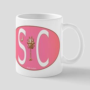 White on Pink SC Euro Oval Mug